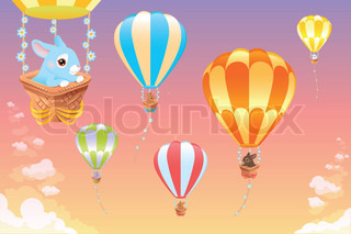 Hot air balloons in the sky with bunny.