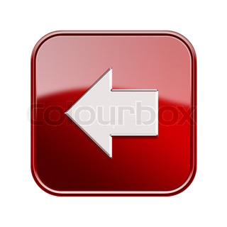 Arrow left icon glossy red, isolated on white background