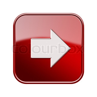 Arrow right icon glossy red, isolated on white background