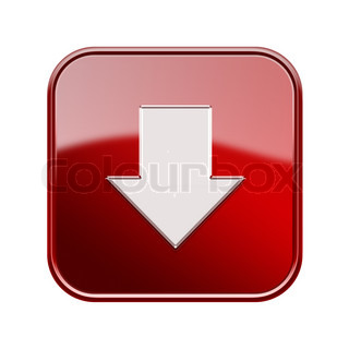 Arrow down icon glossy red, isolated on white background