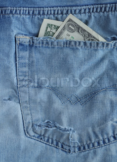 One dollars banknote in a pocket