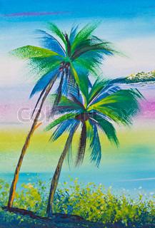 plakat farve tegning kokosnød træ og hav