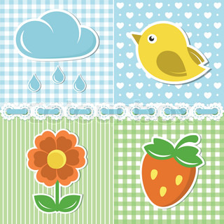 Summer icons of flower, strawberry, cloud and bird on textile backgrounds