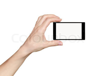 Woman hand holding phone mobile with touch screen isolated on white