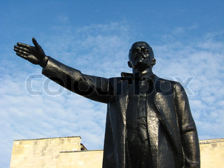 The big and black monument to Lenin