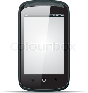 Realistic smartphone with blank screen on a white background