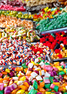 Assorted candy and Mixed colorful Bonbon in a Christmas market
