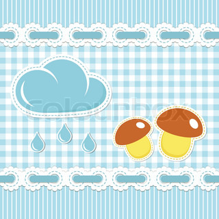 Blue checked background with mushroom and sunshower