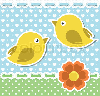 Romantic background with birds and flower
