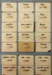 Antique wooden Thai herbal medicine cabinet with name of Thai medicinal plants drawers and Handles
