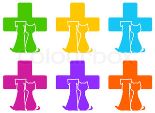 set color veterinary icon with medicine symbol and pet