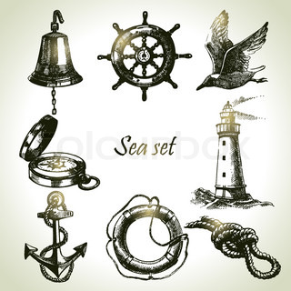 Sea set of nautical design elements Hand drawn illustrations