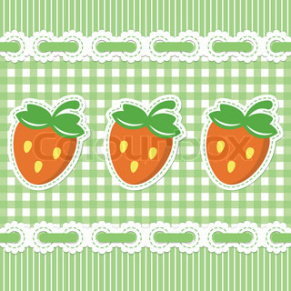 Green checked pattern with strawberry