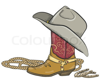Cowboy boot with western hat isolated on white