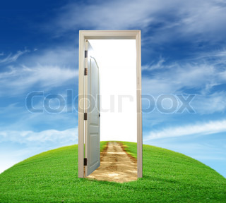 Opened door with the blue sky outside & 3d illustration of opened door with summer nature | Stock Photo ... pezcame.com