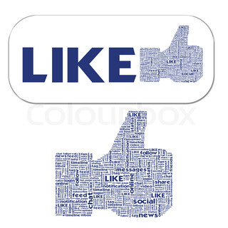 Thumb up like hand symbol with tag cloud of word