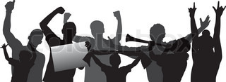 Cheering crowd or sports fans vector silhouettes. Layered - every figure is on a separated layer. Fully editable.