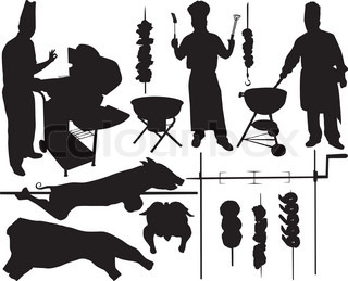BBQ (barbecue), chef, spit, pork, beef, skewer and other BBQ related objects vector silhouettes on white background. Layered. Fully editable