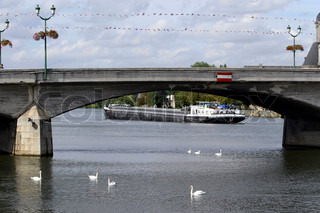 View of a bridge with ship and ducks in river