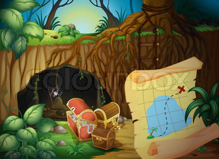 A cave, a treasure chest and a map