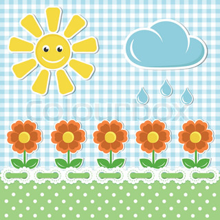 Spring fabric background with sun and flowers