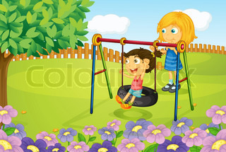 Kids playing swing in garden