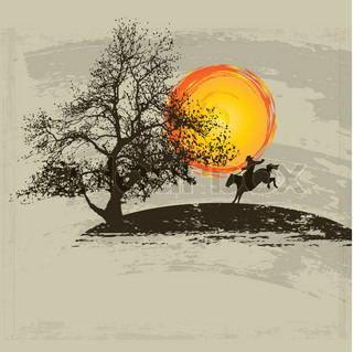 cowboys silhouette against a sunset background illustration