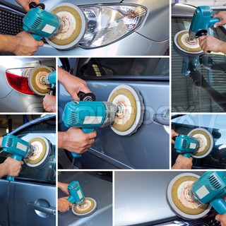 collage polishing car at automobile repair and renew service station shop by power buffer machine