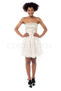 Fashionable young woman in corset dress