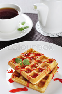 Waffles with jam