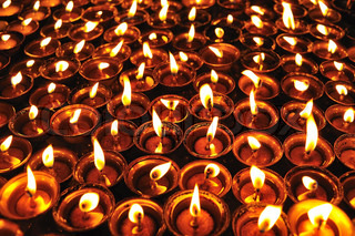 Candles at swayambhunath temple in , Nepal