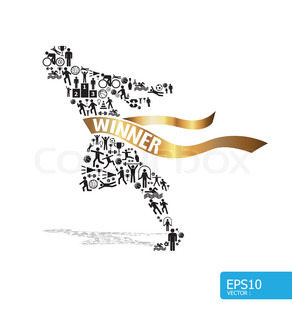 Elements are small icons sports make in active running man shapeVector illustration concept