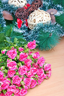 Bouquet of pink roses on a background decorations