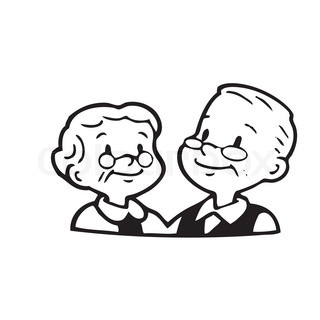 Happy old couple of frame on white background