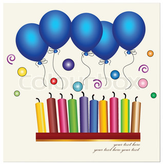 Colorful of candle and blue ballon Vector illustration