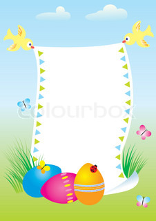 Easter card template with colored eggsVector background