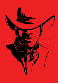 Vector portrait of cowboy on redStrong man in cowboy hat