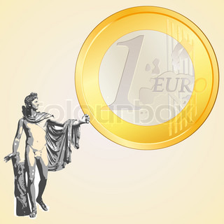 Euro coin and Greek god Apollo