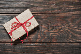 Vintage gift box on a wooden background