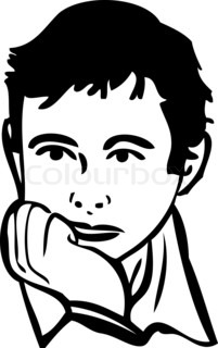 sketch of the boy is thinking