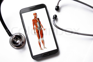 Doctor's medical smartphone with stethoscope isolated on white background