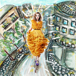 Futuristisch Modern Woman in Mode Kleid zu Fuß Stadt Scenery Illustration