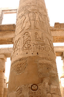 Egyptian stone carving on the columns of Karnak temple