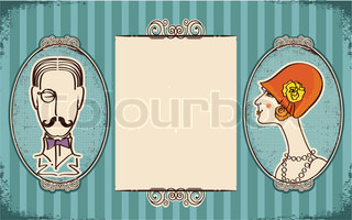 Man and woman portraitsRetro background for text on old paper