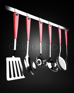 A set of kitchen tools, stainless steel