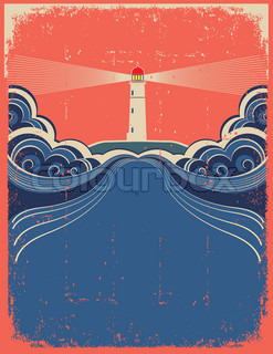 Lighthouse with blue waves