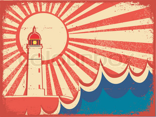 Seascape horizon Vector illustration with lighthouse on grunge paper