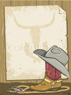 Cowboy background with boot and paper for text