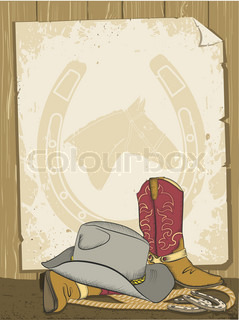 Cowboy background with boots and hatVector old paper