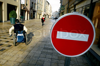 Image of 'handicapped, streets, wheelchair'